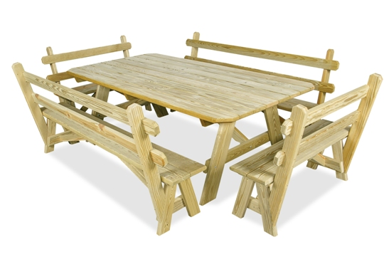 Table Benches with Backs