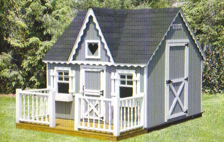 Playhouse 8x8 Deck and Wood Railing